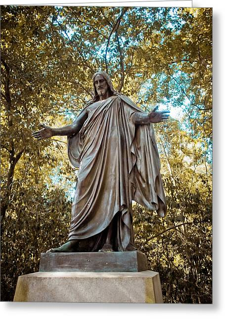 Historic Statue Greeting Cards - The Gravesite of Rawley Powell Greeting Card by Linda Unger