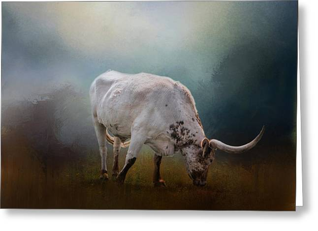 Steer Greeting Cards - The Grazing Texas Longhorn Greeting Card by David and Carol Kelly