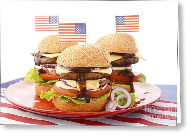 American Independance Greeting Cards - The Great BBQ Hamburger with Flags Greeting Card by Milleflore Images