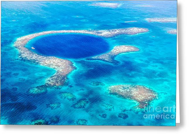 Sinkhole Greeting Cards - The Great Blue Hole of Belize Greeting Card by Matteo Colombo