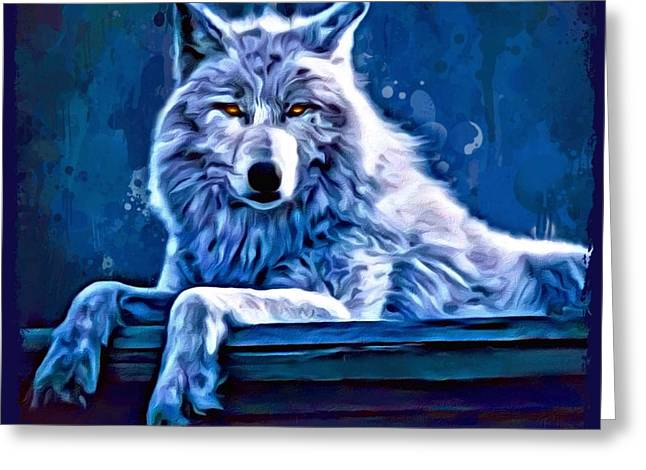 Lack Of Freedom Greeting Cards - The Great Blue Spirit Wolf Greeting Card by Scott Wallace