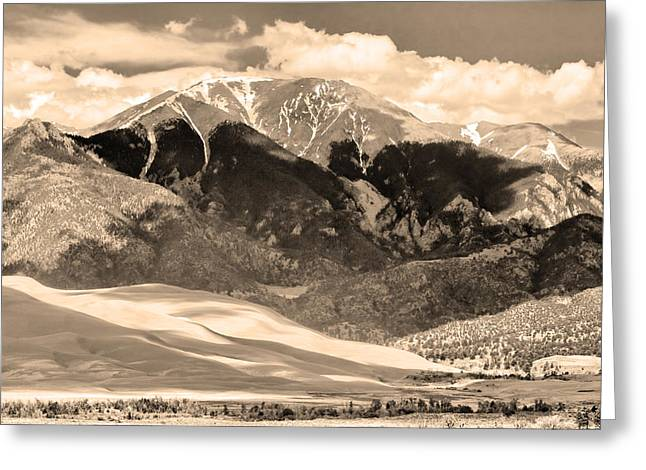 """commercial Photography Art Prints"" Greeting Cards - The Great Colorado Sand Dunes in Sepia Greeting Card by James BO  Insogna"