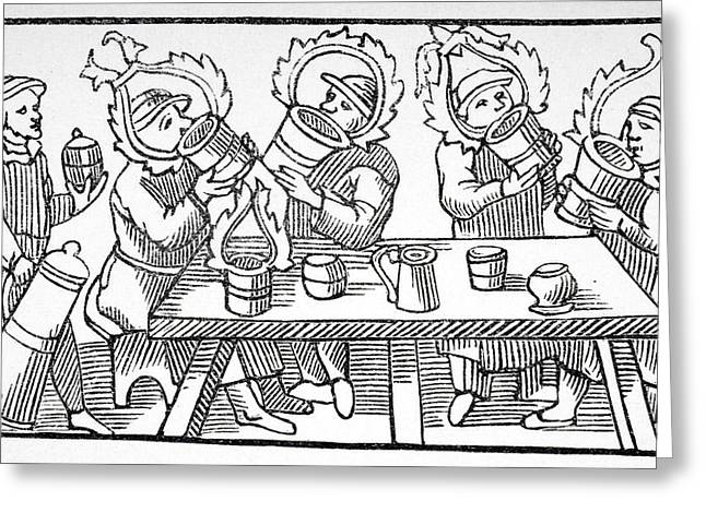 Booze Drawings Greeting Cards - The Great Drinkers Of The North Greeting Card by Ken Welsh