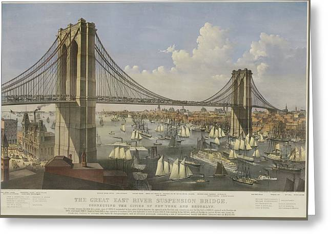 The Great East River Suspension Bridge Greeting Card by Currier and Ives