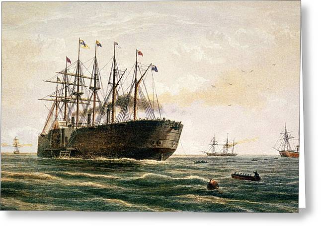 Steam Ship Greeting Cards - The Great Eastern under way Greeting Card by Robert Dudley