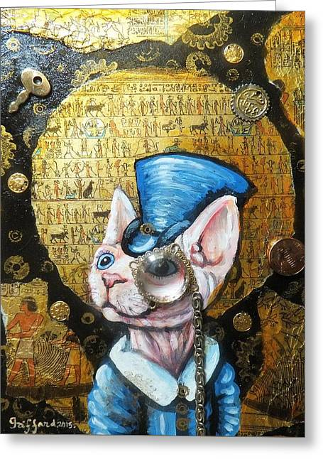 Sphynx Art Greeting Cards - The great Egyptian explorer Greeting Card by Anna Griffard