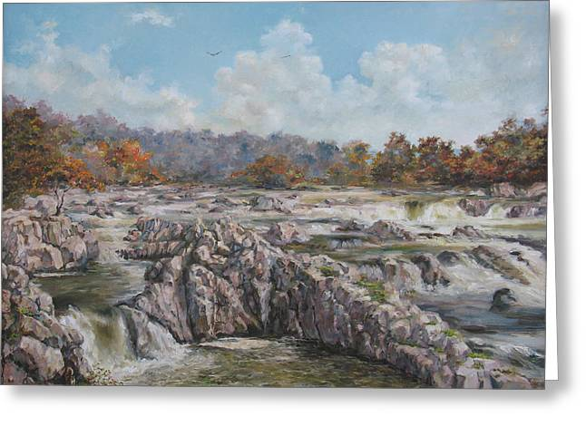 Rivers In The Fall Paintings Greeting Cards - The Great Falls Greeting Card by Tigran Ghulyan