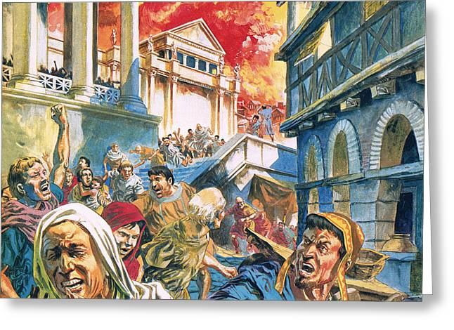 Red Buildings Drawings Greeting Cards - The Great Fire of Rome Greeting Card by English School