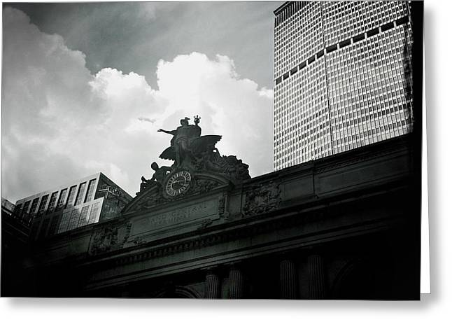 Famous Photographer Greeting Cards - The Great Grand Central Clock - Mercury and MetLife Building Greeting Card by Miriam Danar