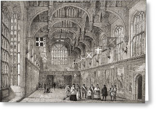 Hamptons Drawings Greeting Cards - The Great Hall, Hampton Court Palace Greeting Card by Ken Welsh