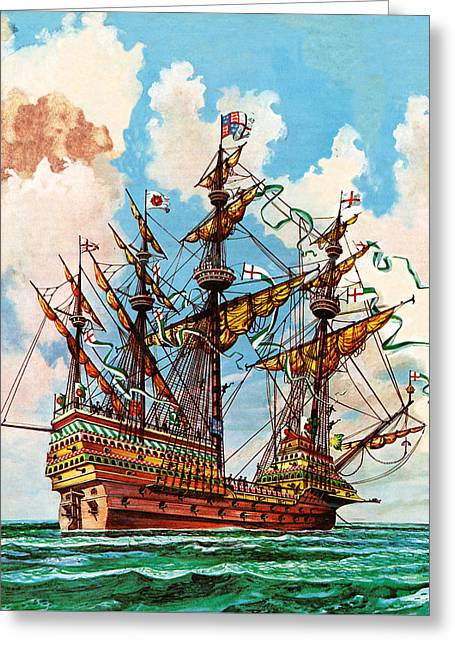 The Great Harry, Flagship Of King Henry Viii's Fleet Greeting Card by Peter Jackson