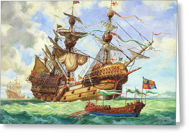 The Great Harry, Flagship Of King Henry's Fleet Greeting Card by CL Doughty