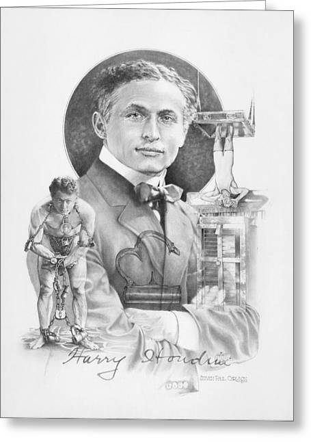 Entertainer Drawings Greeting Cards - The Great Houdini Greeting Card by Steven Paul Carlson