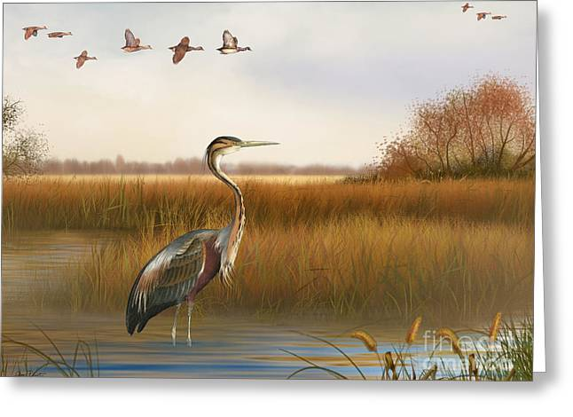 Willow Lake Greeting Cards - The Great Marsh-JP2859 Greeting Card by Jean Plout