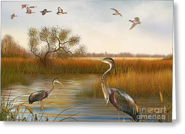 Willow Lake Greeting Cards - The Great Marsh-JP2860 Greeting Card by Jean Plout