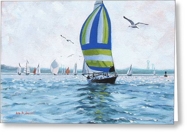 New England Coast Line Greeting Cards - The Great Race 06 Greeting Card by Laura Lee Zanghetti
