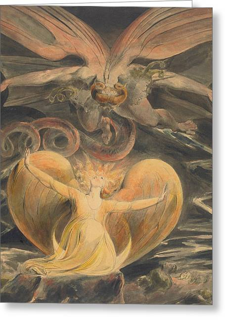 The Great Red Dragon And The Woman Clothed With The Sun Greeting Card by William Blake