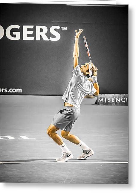 Federer Art Greeting Cards - The Great Roger Federer Greeting Card by Bill Cubitt