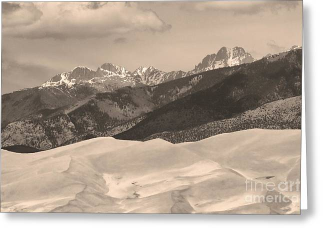 Great Sand Dunes National Park Greeting Cards - The Great Sand Dunes Sepia Print 45 Greeting Card by James BO  Insogna