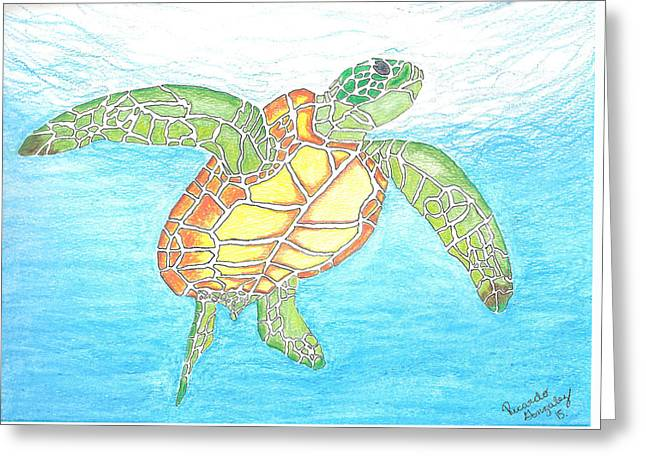 Sea Animals Greeting Cards - The Great Sea Turtle Greeting Card by Ricardo Gonzalez