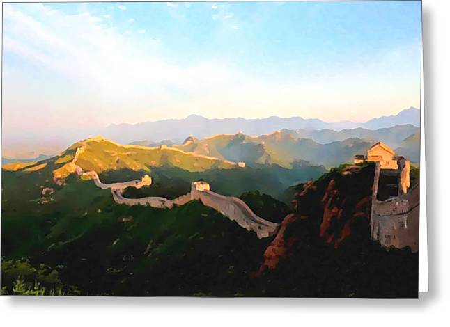The Great Wall Greeting Card by Lanjee Chee
