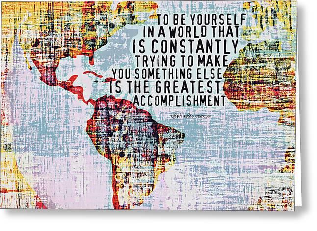 The Greatest Accomplishment Emerson V3 Greeting Card by Brandi Fitzgerald