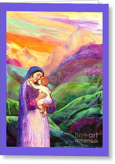 Virgin Mary And Baby Jesus, The Greatest Gift Greeting Card by Jane Small