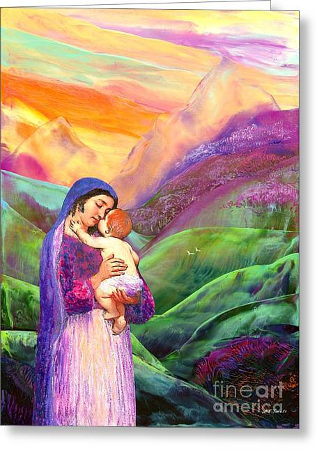Baby Jesus Paintings Greeting Cards - The Greatest Gift Greeting Card by Jane Small