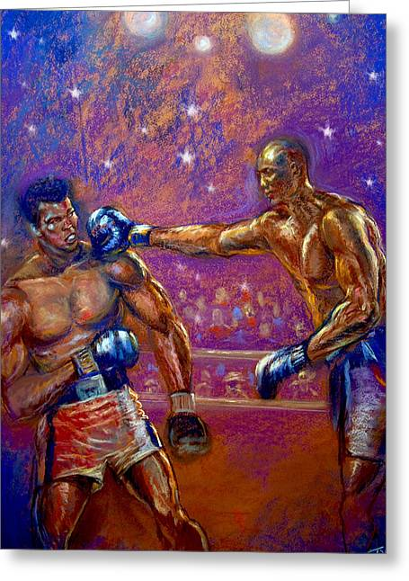 Athlete Pastels Greeting Cards - the Greatest  Muhammed Ali vs Jack Johnson Greeting Card by Tommy  Winn