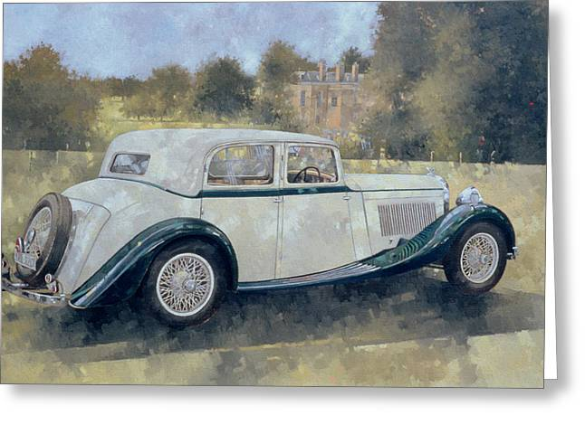 The Green And White Bentley At Althorp Greeting Card by Peter Miller
