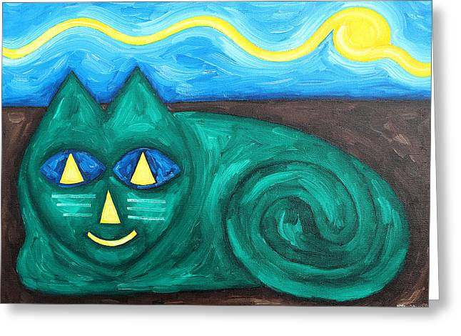 Tablets Greeting Cards - The Green Cat Greeting Card by Patrick J Murphy