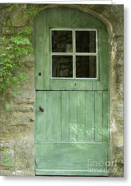 Provence Village Greeting Cards - The Green Door Greeting Card by Bob Phillips
