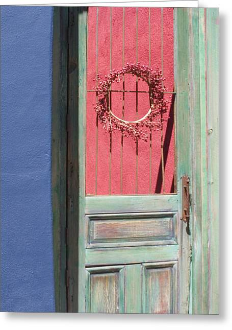 Entryway Photographs Greeting Cards - The Green Door Greeting Card by Elvira Butler