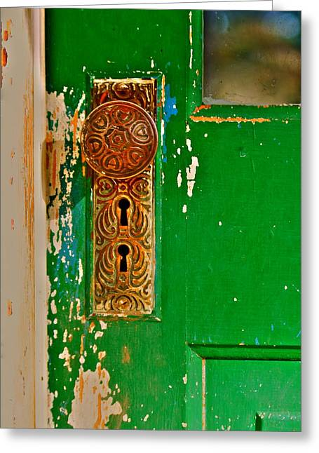 Door Knob Greeting Cards - The Green Door Greeting Card by Karon Melillo DeVega