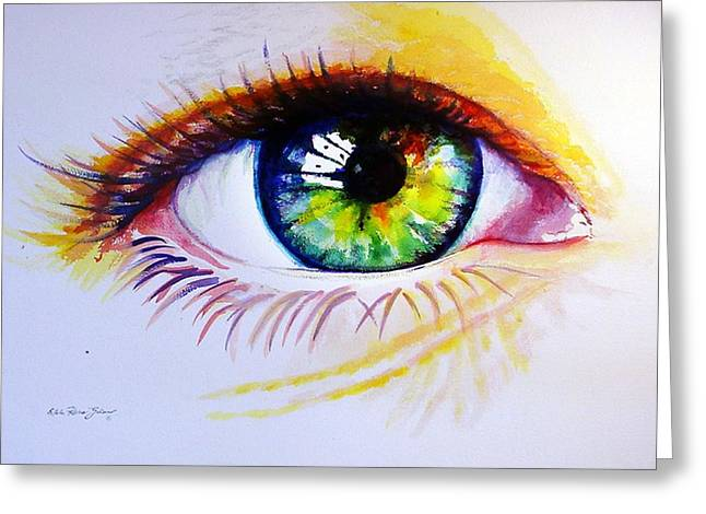 The Green Eye Greeting Card by Estela Robles