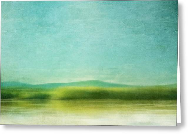 Abstractions Greeting Cards - The Green Haze Greeting Card by Priska Wettstein