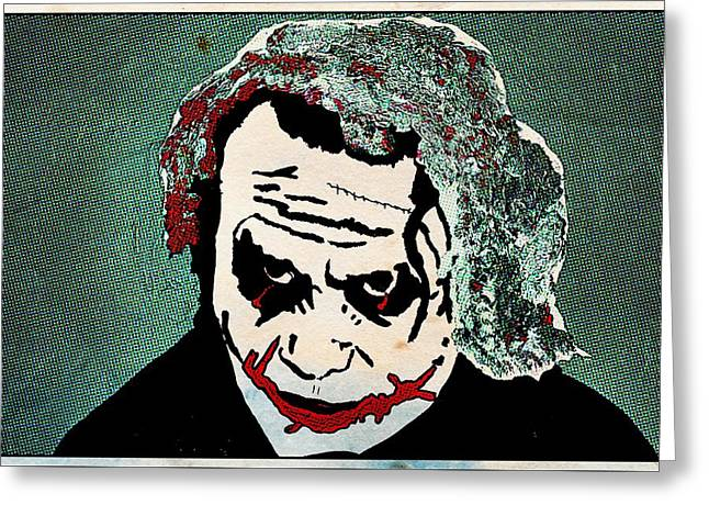 Ledger; Book Paintings Greeting Cards - The Green Joker Greeting Card by Robert Margetts
