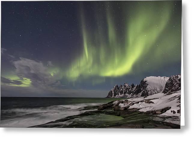 Thomas Berger Greeting Cards - The green magic from the sky Greeting Card by Thomas Berger