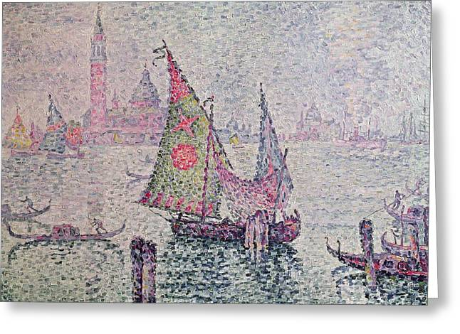 Italian Landscapes Greeting Cards - The Green Sail Greeting Card by Paul Signac