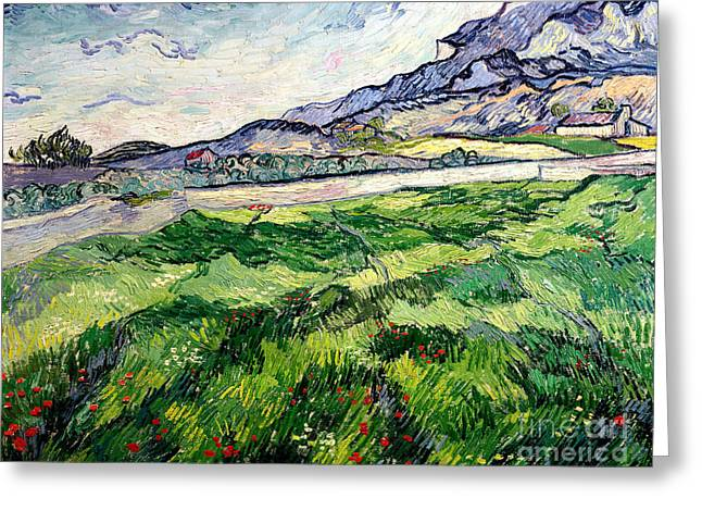Vangogh Paintings Greeting Cards - The Green Wheatfield behind the Asylum Greeting Card by Vincent van Gogh