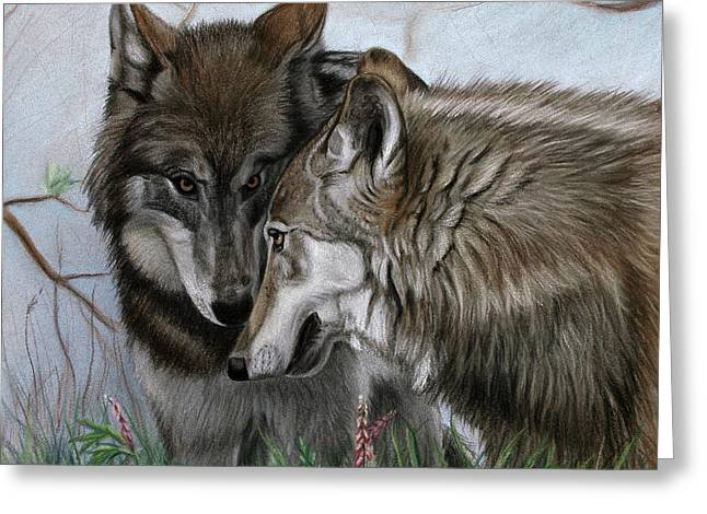 Wolf Pastels Greeting Cards - The Greeting Greeting Card by Deb LaFogg-Docherty