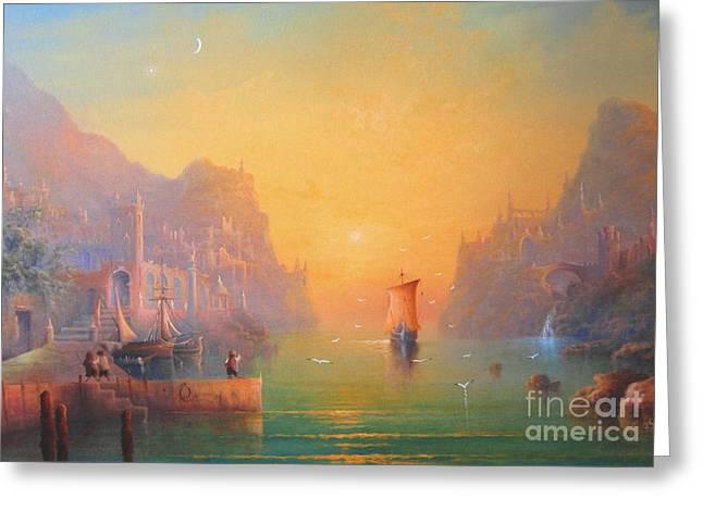 The Grey Havens. The Gulls Lament.  Oil On Canvas Greeting Card by Joe  Gilronan