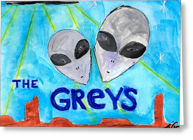 Book Cover Art Greeting Cards - The Greys Greeting Card by Teresa White