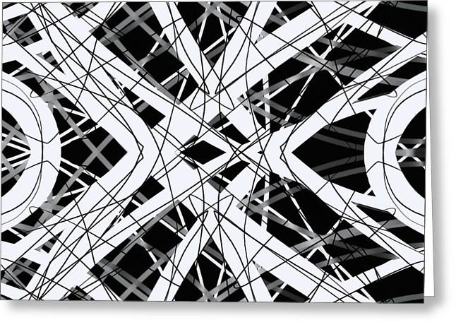 Square Format Greeting Cards - The Grid Black and White Abstract Design Greeting Card by Edward Fielding