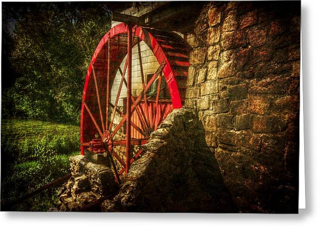 The Gristmill's Waterwheel Greeting Card by Christine Annas