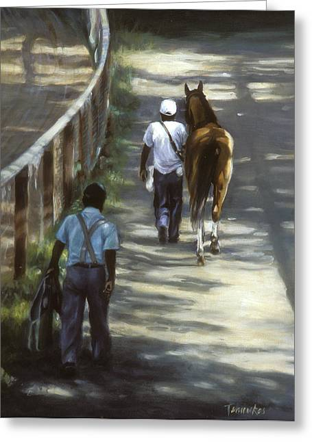 Horse Racing Paintings Greeting Cards - The Grooms Greeting Card by Linda Tenukas