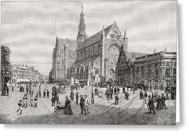 Town Square Drawings Greeting Cards - The Grote Kerk Or St.bavokerk In The Greeting Card by Ken Welsh