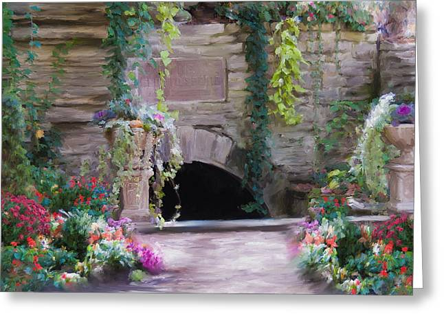 Garden Statuary Greeting Cards - The Grotto Greeting Card by Carolyn Whitaker