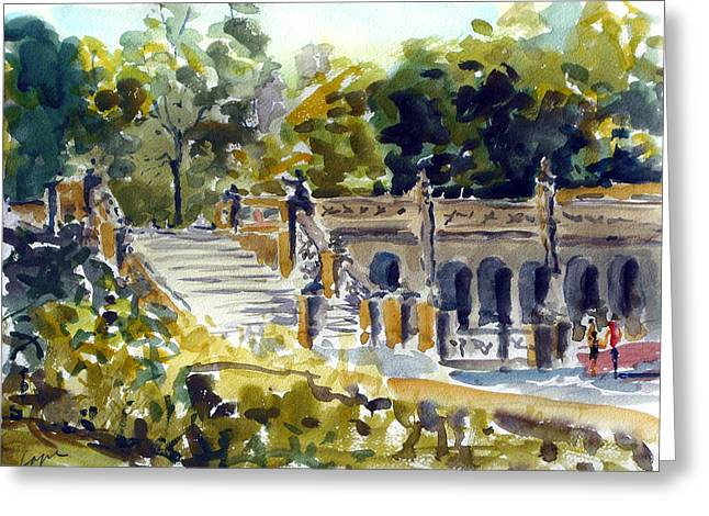 Bethesda Fountain Greeting Cards - The Grotto Steps Greeting Card by Chris Coyne