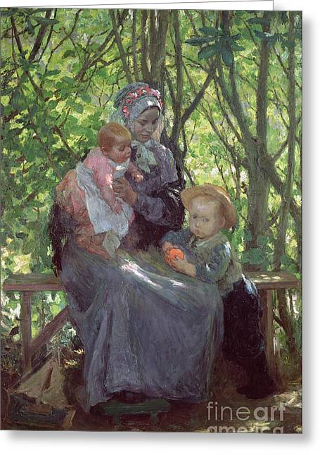 The Babe Greeting Cards - The Grove Greeting Card by Julius Gari Melchers
